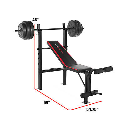 Combo Bench With 100 Pound Barbell Weight Set Indoor Home