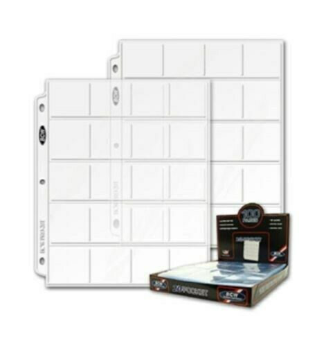 """/""""BCW/"""" 20-POCKET PAGES 20 PAGE PACK 2X2 POCKET W//FREE SHIPPING!!!"""