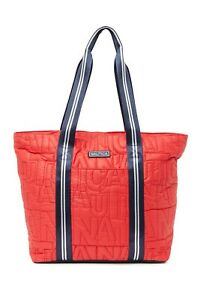 BNEW Nautica Leah Quilted Logo Tote Bag, Bright Red