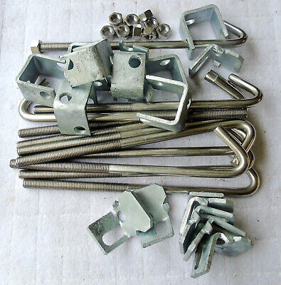 """Stainless Steel 1//2/""""x 11 3//8/"""" J-Bolt Hooks  and Steel Beam Clamps /& Nuts"""