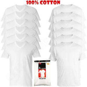 New-3-6-Pack-Mens-100-Cotton-Crew-amp-V-Neck-Tagless-T-Shirt-Undershirt-White-S-XL