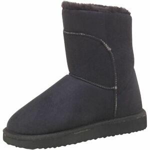 Girls-Winter-Warm-Faux-Wool-Board-Angels-Ankle-Kids-Black-Shoes-Footwear