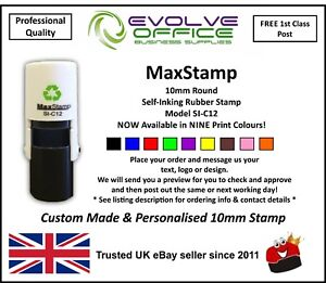 10mm round custom rubber stamp self inking personalised with your
