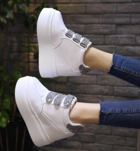 Haut Femme Paillettes Bout Rond Haut Caché Talons Hauts Plateforme Muffins Baskets Chaussures E114