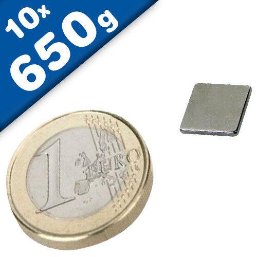 0,65 kg 10 x Quadermagnet Magnetquader  10 x  10 x  1mm Neodym N42 Nickel