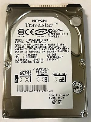 H32687 Free Shipping HITACHI IC25N020ATCS04-0 20GB IDE HARD DRIVE MLC