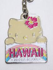 Hello Kitty Hula Girl HAWAII License Plate Metal Charm Key Ring Chain Keychain