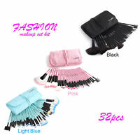 32pcs Muticolor Fashion Pro Eyebrow Shadow Soft Makeup Brush Set Kit + Pouch Bag