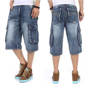 Mens-Short-Jeans-Cargo-Combat-Shorts-Denim-Carpenter-Loose-Fit-Plus-Size-46W-14L
