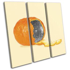 Orange-Disco-Ball-Concept-Food-Kitchen-TREBLE-CANVAS-WALL-ART-Picture-Print