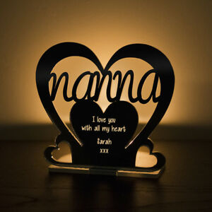 Personalised-Tea-Light-Heart-Candle-Holder-For-NANNA-Birthday-Mother-039-s-Day-Gift