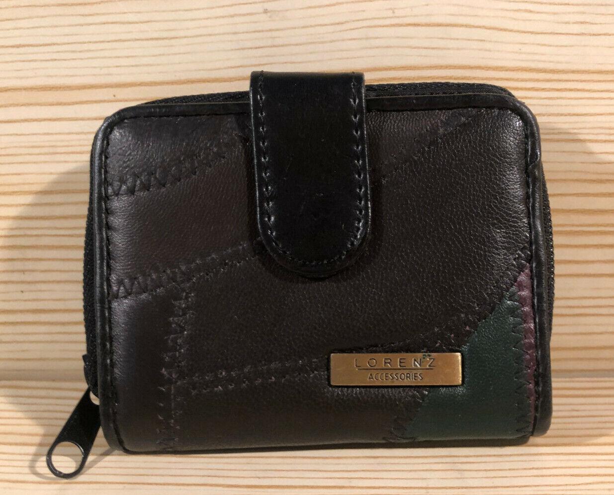 Lorenz Designer Ladies Soft Leather Purse Wallet with Large Coin Pocket Black