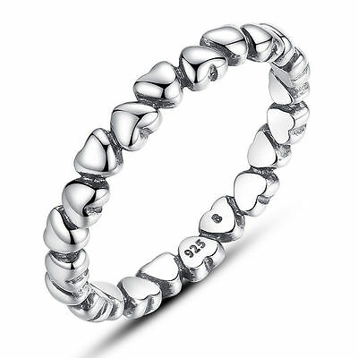 New Women Luxury Solid S925 Real Sterling silver Ring With All Hearts Size 6-9
