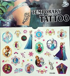 Details about Kids Temporary Tattoos Stickers Frozen Body Art Removable  Waterproof Party Bag