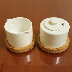 White-Ceramic-Creamer-and-Sugar-Dish-Set-with-Cork-Coasters-Lot