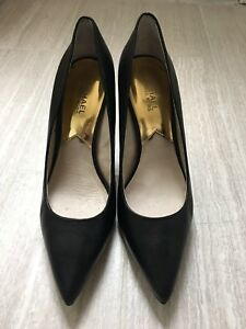 ef2f46cd562b Image is loading Michael-Kors-Joselle-Black-Leather-High-Heel-Pump-