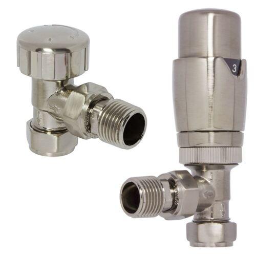 Nickel brossé Angle Thermostatique TRV Radiateur sèche-serviettes valves paire