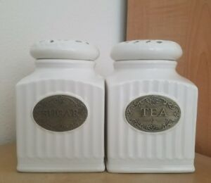thl kitchen canisters new thl french shabby chic sugar and tea canisters set spring home kitchen decor ebay 2681
