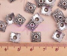 100 Pcs Silver Gold Bronze Tone Flower Square Bead End Caps 8mm