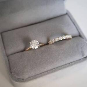 2Ct-D-VVS1-Round-Cut-Diamond-Pave-Bridal-Set-Engagement-Ring-14k-Yellow-Gold-Fn
