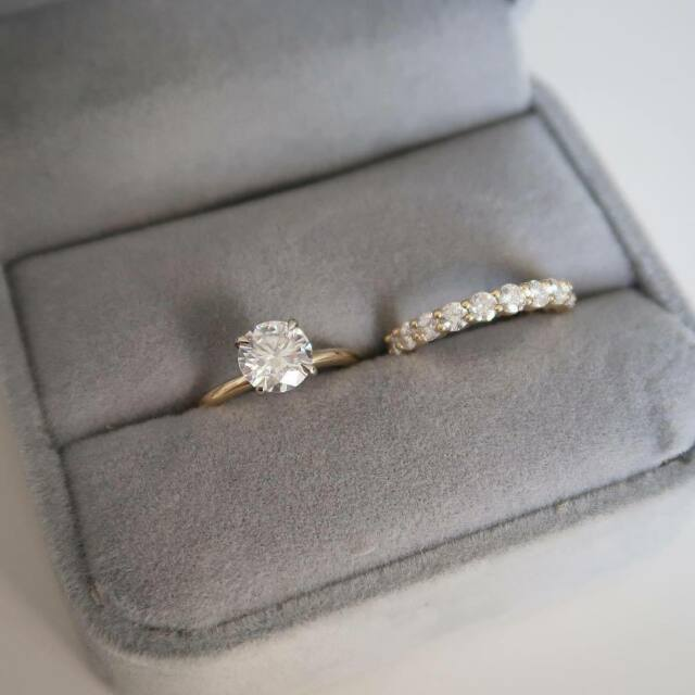 2Ct D/VVS1 Round-Cut Diamond Pave Bridal Set Engagement Ring 14k Yellow Gold Fn