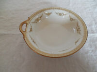 Nippon hand painted gold flower wreath one handle bowl