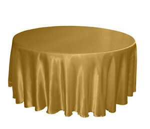 Image Is Loading Gold Satin 120 034 Round Tablecloths Table Cloth