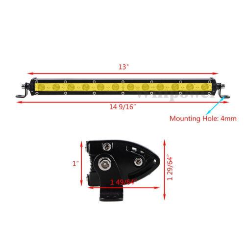 7//13//20//25//32//38inch Single Row Slim LED Light Bar for Car Off road Yellow Amber