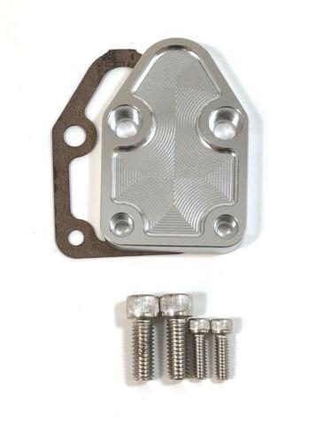 SB Chevy 283-400 V8 Fuel Pump Block Off Plate SBC CNC Machined Billet Aluminum