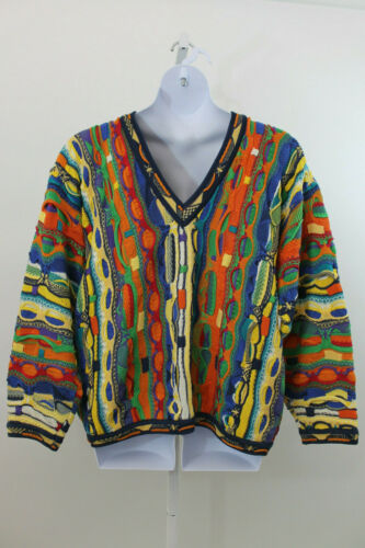 Coogi Orange & Blue Multi Sweater  XL