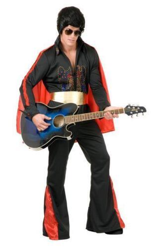 Rhinestone Rock Star Elvis Presley Black Fancy Dress Up Halloween Adult Costume
