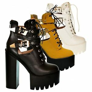 Ladies-chunky-platform-ankle-boot-womens-lace-up-twin-buckle-casual-party-shoe
