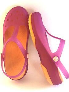 Women-039-s-7-Crocs-clogs-sandals-shoes-funky-orange-pink-flats-excellent