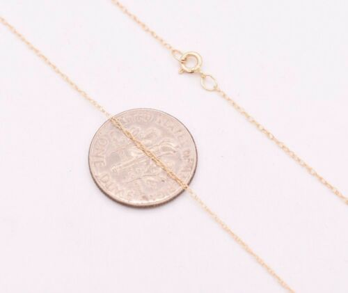 """0.6mm Open Dainty Twisted Rope Chain Necklace Real Solid 14K Yellow Gold 16/"""" 18/"""""""