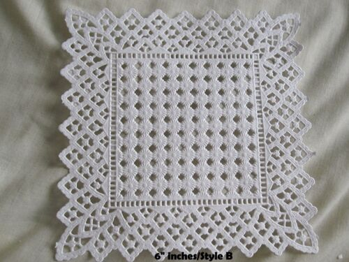 """36 PC ❤ 9 STYLE ASSORT SQUARE PAPER LACE DOILY ❤ Journal CRAFT CARD 5/"""" 6/"""" 8/"""" 10/"""""""