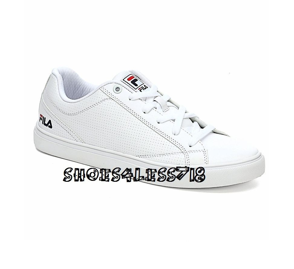 NEW 2016 MEN'S FILA AMALFI WHITE CLASSIC LOW TOP PERFORATED SNEAKERS