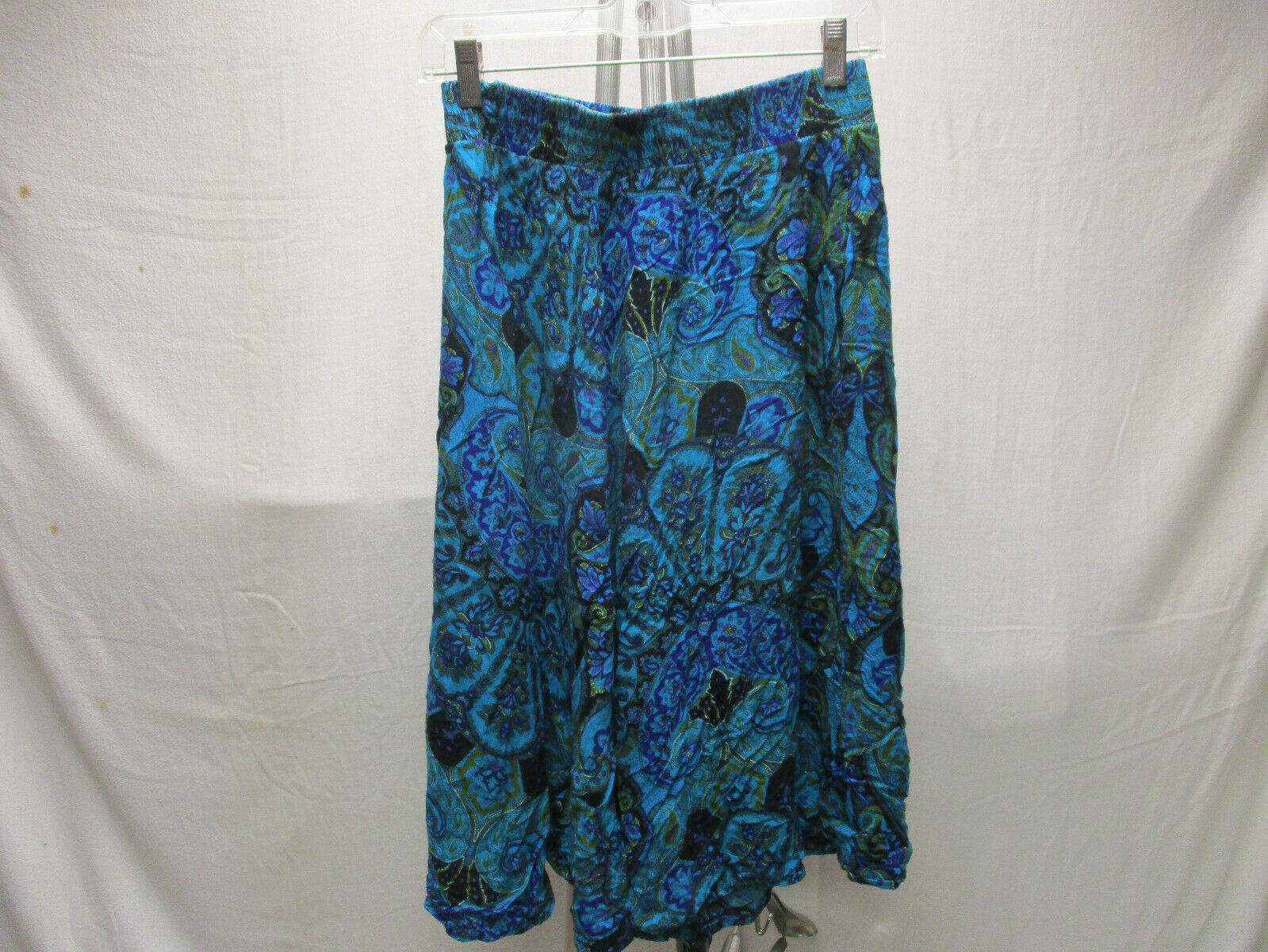 Womens African Bohemian Retro 12 L Large Skirt Blue Purple 100% Made in USA