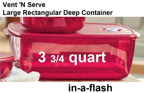 Tupperware New VENT N SERVE LARGE DEEP RECTANGULAR CONTAINER Red 3.75 qt BPA Fre