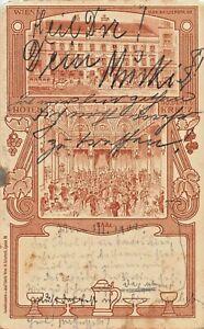 WIEN AUSTRIA~HOTEL GOLDENES KREUZ-EXTERIIOR + SAAL~J EBERLE 1902 ARTIST POSTCARD
