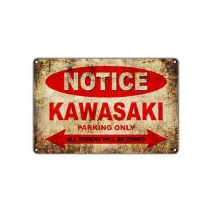 Details About Kawasaki Motorcycles Parking Sign Vintage Retro Metal Art Shop Man Cave Bar