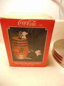 Enesco Coca-Cola 1992 Barrel dispenser w/mice Christmas Ornament w/box