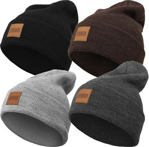 Urban Classics Long Beanie Hat Extra Long Thick with lederlogo ... 25ff7c91169