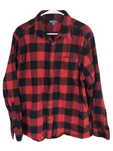 Eddie-Bauer-Cotton-Flannel-Shirt-Mens-XL-Black-Red-Plaid-Long-Sleeve-Button-Up