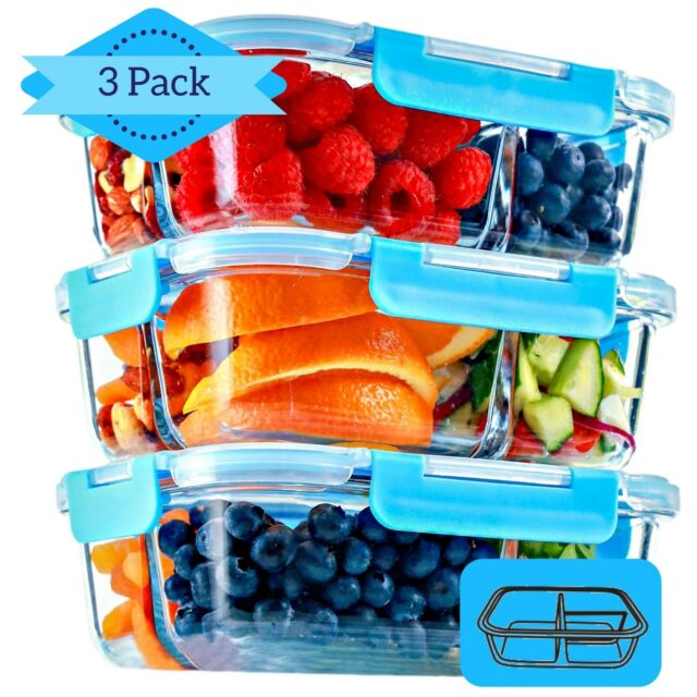 Compartment Locking Glass Meal Prep Containers Set Food Reusable Storage Non BPA