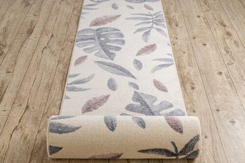 Modern Runner /'HEOS/' Leaves Cream Pink Width 70-80 cm Any Length