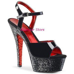 Sexy SANDALI GLITTER tacco 15 dal 35 a 41 41 41 ROSSO/NERO plateau scarpe glamour CLUB 24ea37