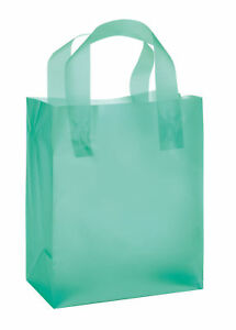 """Plastic Shopping Bags Frosty 25 Black Frosted Merchandise Gift  8/"""" x 5/"""" x 10/"""""""