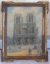 huile sur carton peinture tableau Notre Dame de Paris 1930 signé