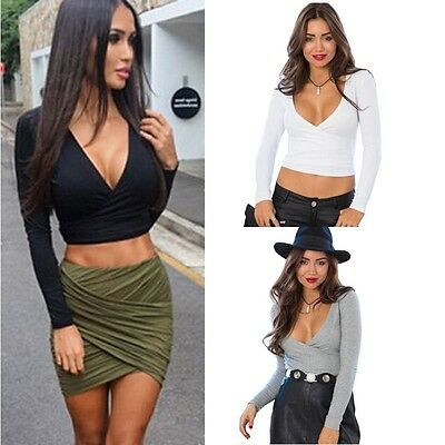 Women Deep V-Neck Cross Slim Crop Tops Long Sleeve T shirt Clubwear Blouse Lot