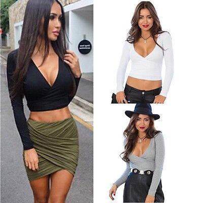 Sexy Women Deep V-Neck Cross Slim Crop Tops Long Sleeve T shirt Clubwear Blouse
